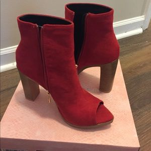 Red suede pointed open toe heeled booties